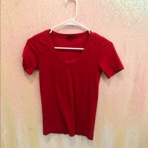 Theory red scoop neck t-shirt